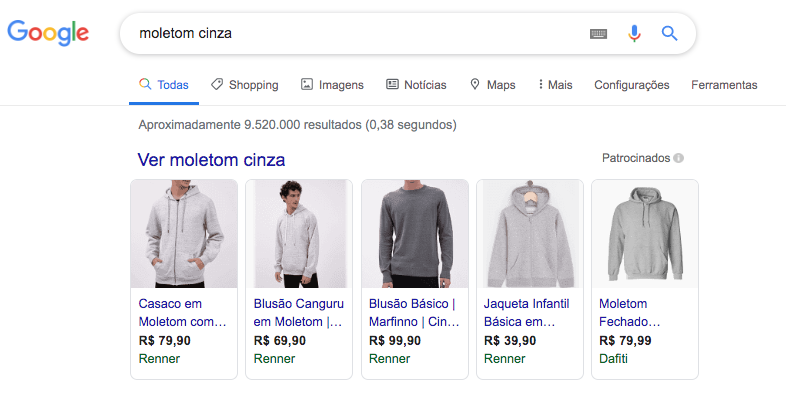 Resultados de Google Shopping